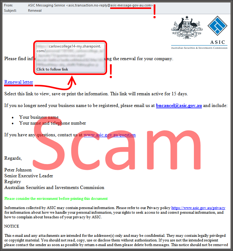 ASIC Connect - SCAM ALERT: We're warning our customers ...